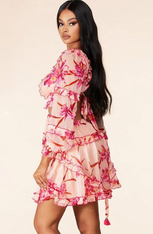Pink Flower Chiffon Open Back Side Cut Out Ruffle Trim Mini Dress 2