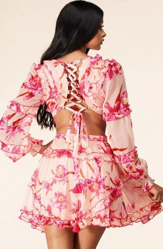 Pink Flower Chiffon Open Back Side Cut Out Ruffle Trim Mini Dress 3