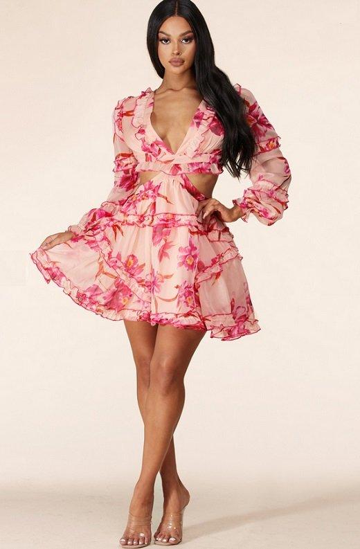 Pink Flower Chiffon Open Back Side Cut Out Ruffle Trim Mini Dress 6