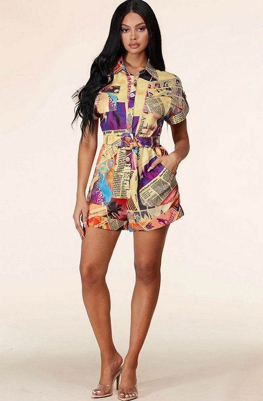 Yellow Tropical Art Button Down Belted Shorts Set 1