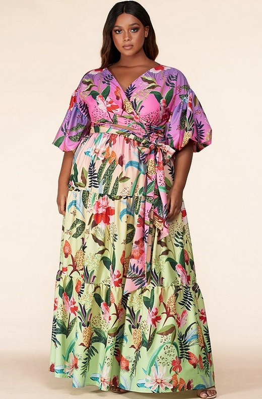 Fuchsia Floral Print Ombre Puffed Sleeves Maxi Dress Plus Size 3