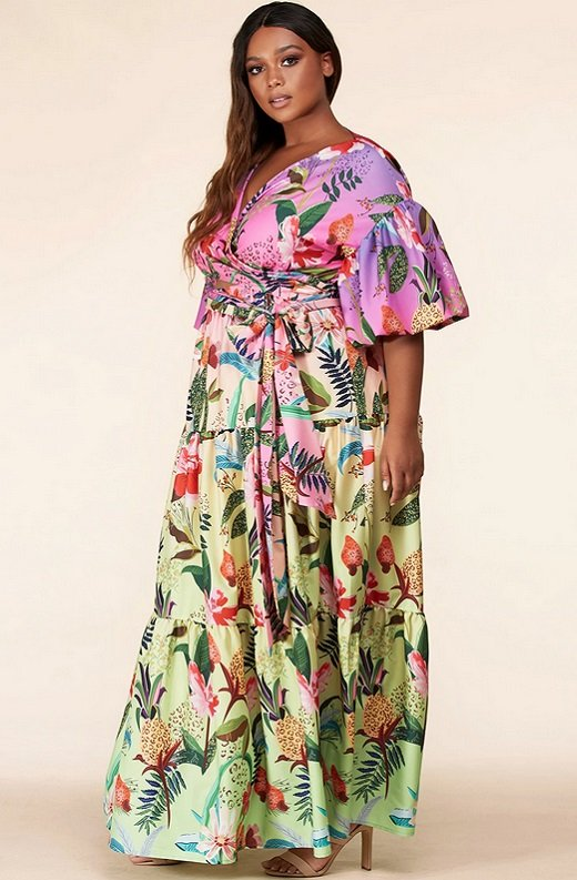 Fuchsia Floral Print Ombre Puffed Sleeves Maxi Dress Plus Size 4