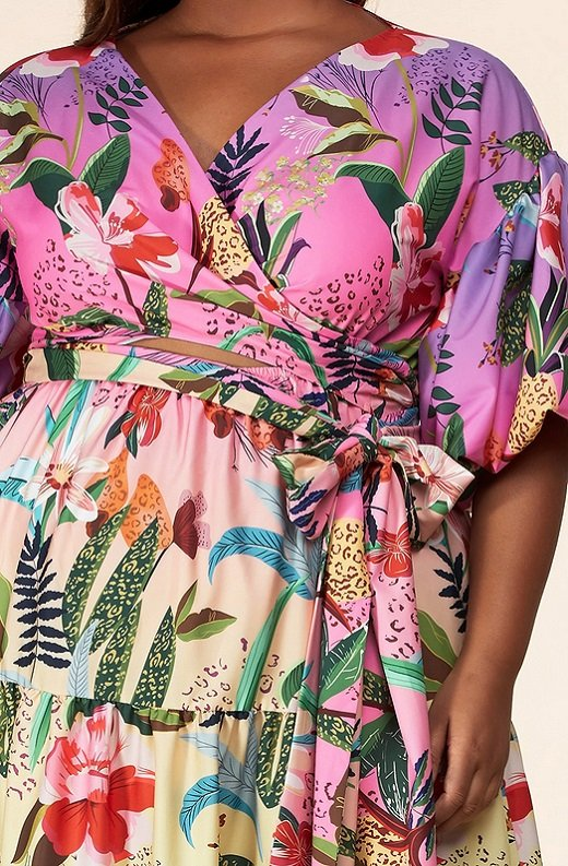 Fuchsia Floral Print Ombre Puffed Sleeves Maxi Dress Plus Size 6