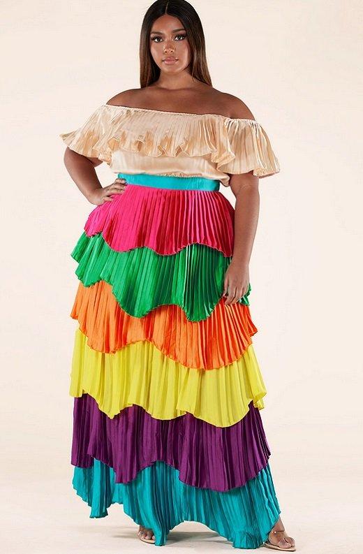 Multi Color Block Off Shoulder Pleated Ruffle Maxi Dress Plus Size 1