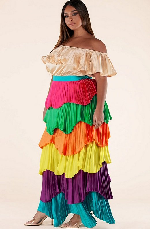 Multi Color Block Off Shoulder Pleated Ruffle Maxi Dress Plus Size 2