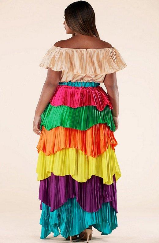 Multi Color Block Off Shoulder Pleated Ruffle Maxi Dress Plus Size 3
