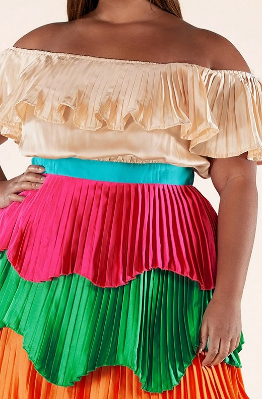 Multi Color Block Off Shoulder Pleated Ruffle Maxi Dress Plus Size 4