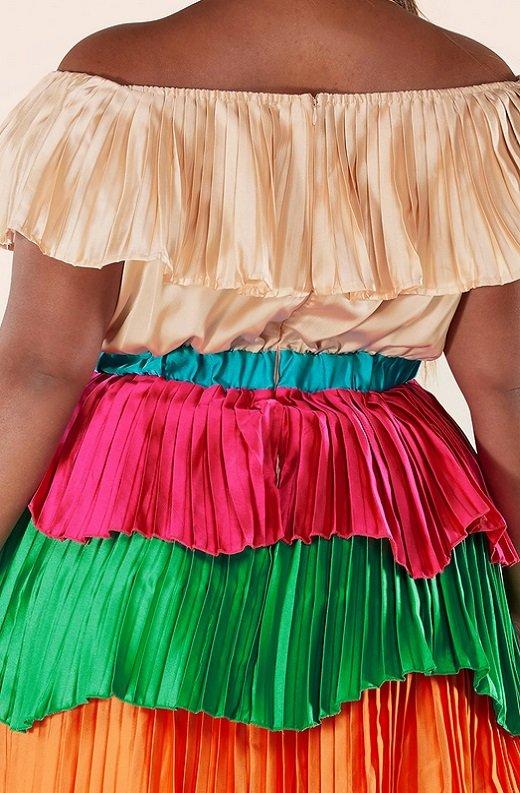 Multi Color Block Off Shoulder Pleated Ruffle Maxi Dress Plus Size 5
