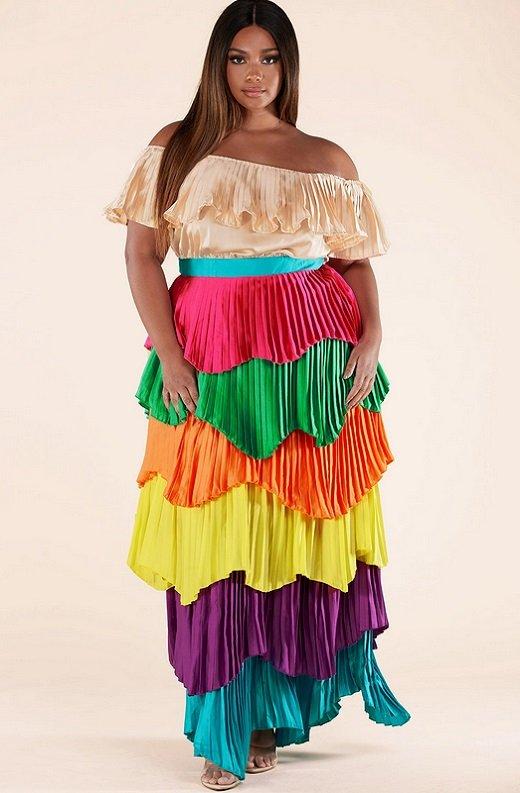 Multi Color Block Off Shoulder Pleated Ruffle Maxi Dress Plus Size 6