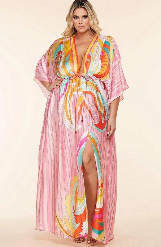 Pink Multi Abstract Print Loose Fit Kimono Dress Plus Size 1