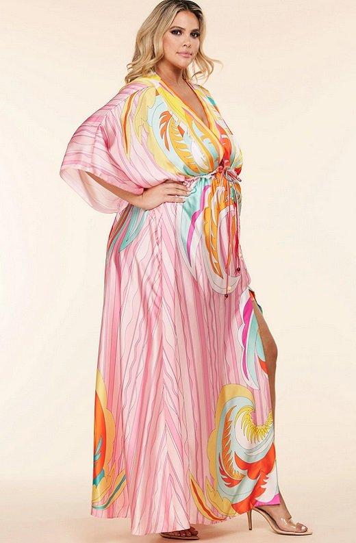 Pink Multi Abstract Print Loose Fit Kimono Dress Plus Size 2