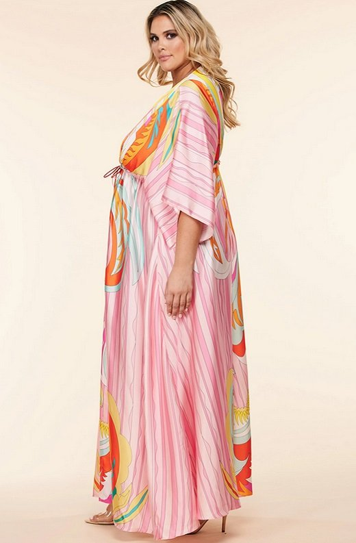 Pink Multi Abstract Print Loose Fit Kimono Dress Plus Size 3