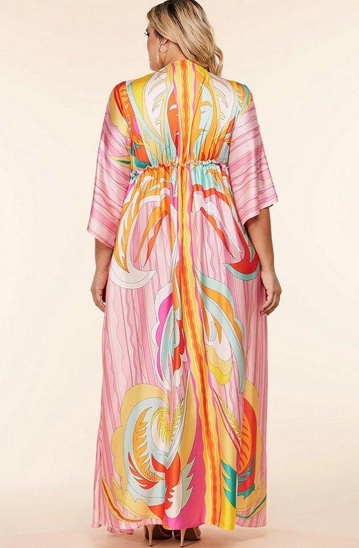 Pink Multi Abstract Print Loose Fit Kimono Dress Plus Size 4