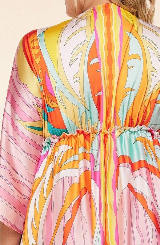 Pink Multi Abstract Print Loose Fit Kimono Dress Plus Size 6