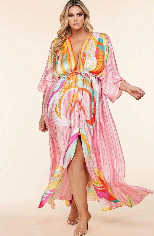 Pink Multi Abstract Print Loose Fit Kimono Dress Plus Size 7