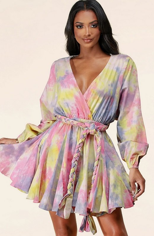 Pink Tie-Dye Surplice Belted Skater Dress 1