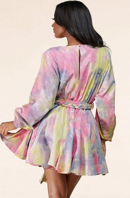 Pink Tie-Dye Surplice Belted Skater Dress 3