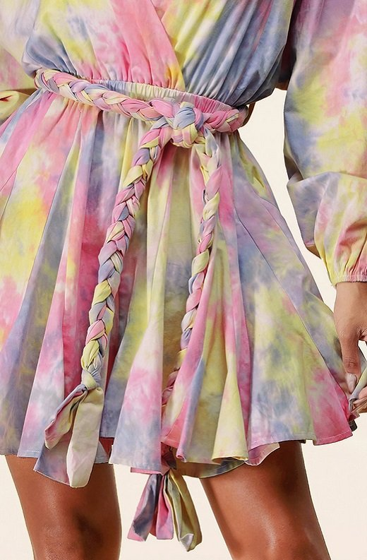 Pink Tie-Dye Surplice Belted Skater Dress 5