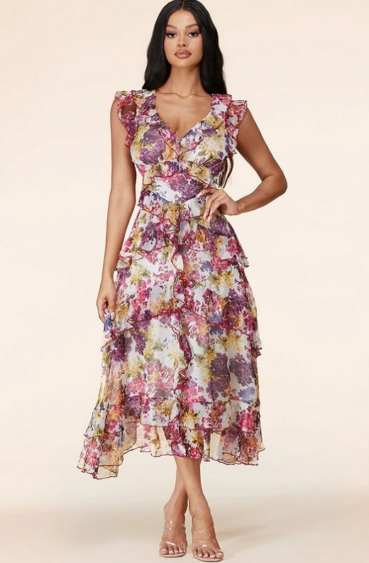 Plum Wine Multi Floral Print Sleeveless Midi Dress 1