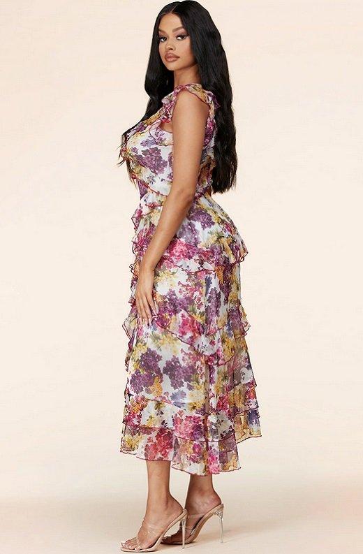 Plum Wine Multi Floral Print Sleeveless Midi Dress 2