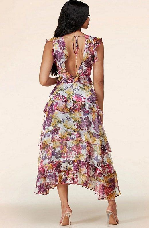 Plum Wine Multi Floral Print Sleeveless Midi Dress 3