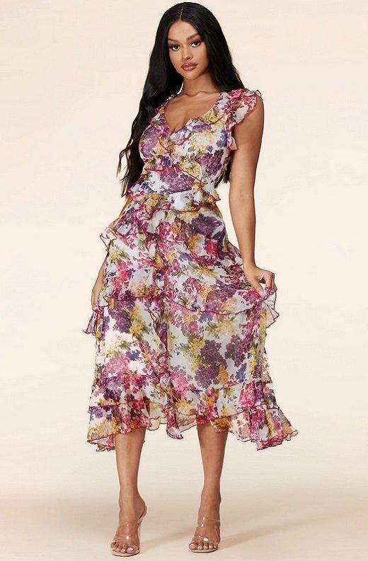 Plum Wine Multi Floral Print Sleeveless Midi Dress 6