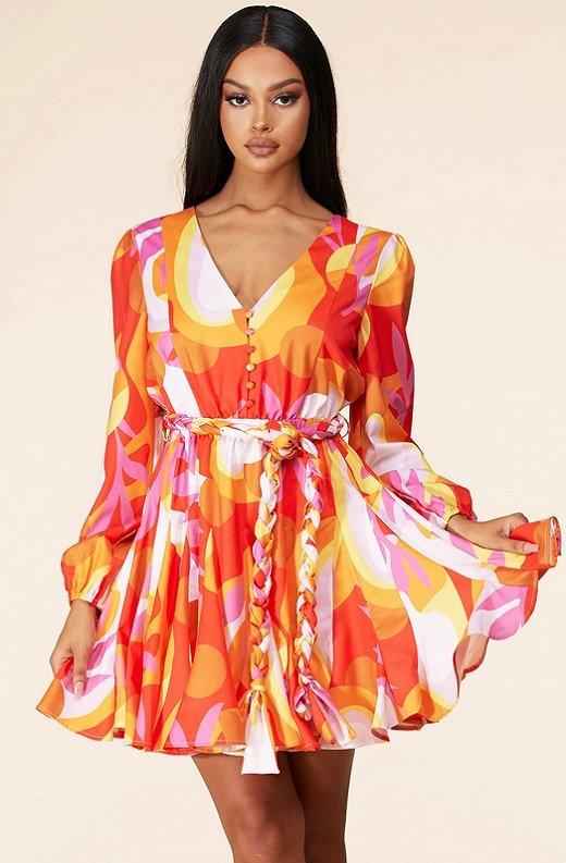 Tangerine Surplice Long Sleeves Skater Dress 1