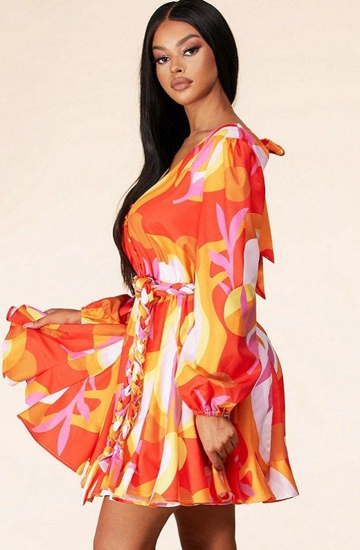 Tangerine Surplice Long Sleeves Skater Dress 2