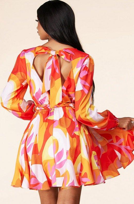 Tangerine Surplice Long Sleeves Skater Dress 3