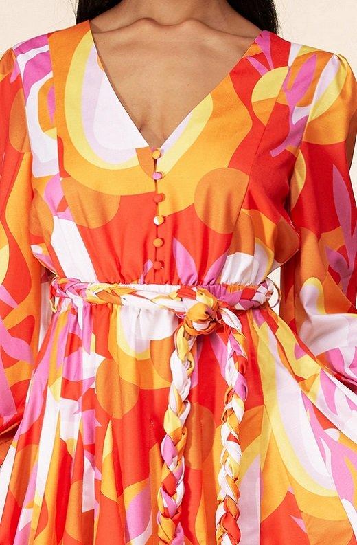 Tangerine Surplice Long Sleeves Skater Dress 5