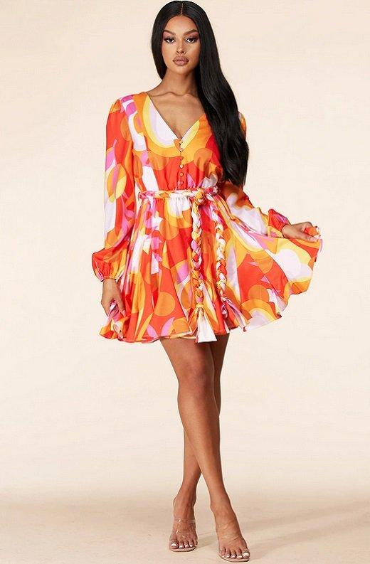 Tangerine Surplice Long Sleeves Skater Dress 6