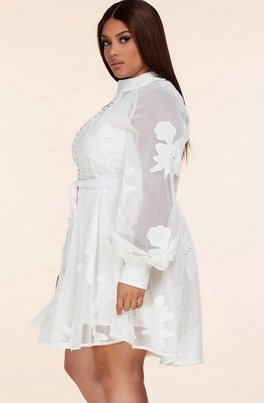 White Embroidered Floral Sheer Mesh Long Sleeves Mini Dress Plus Size 2