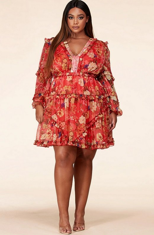 Coral Floral Print Ruffle Cut Out Tie Up Back Mini Dress Plus Size 1