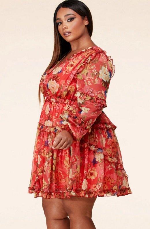 Coral Floral Print Ruffle Cut Out Tie Up Back Mini Dress Plus Size 3