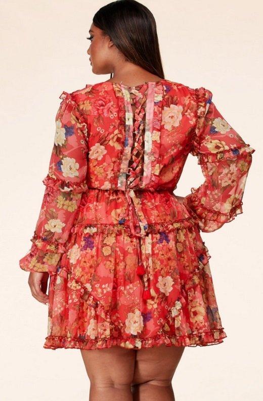 Coral Floral Print Ruffle Cut Out Tie Up Back Mini Dress Plus Size 4