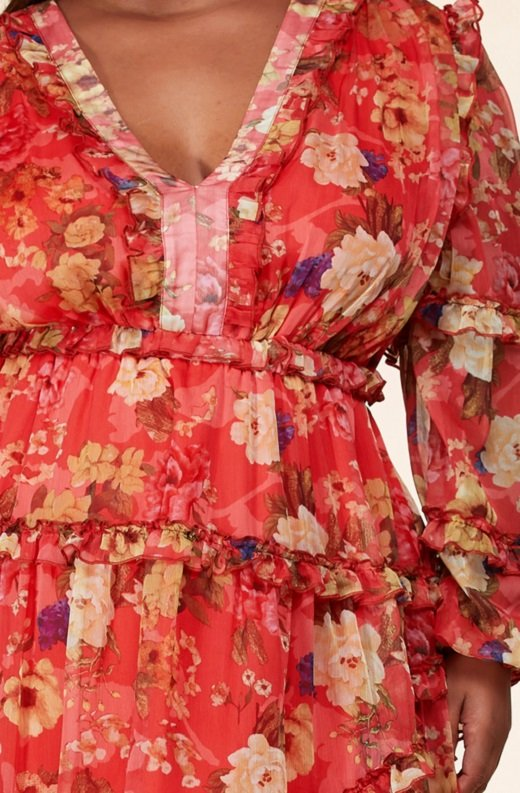 Coral Floral Print Ruffle Cut Out Tie Up Back Mini Dress Plus Size 5