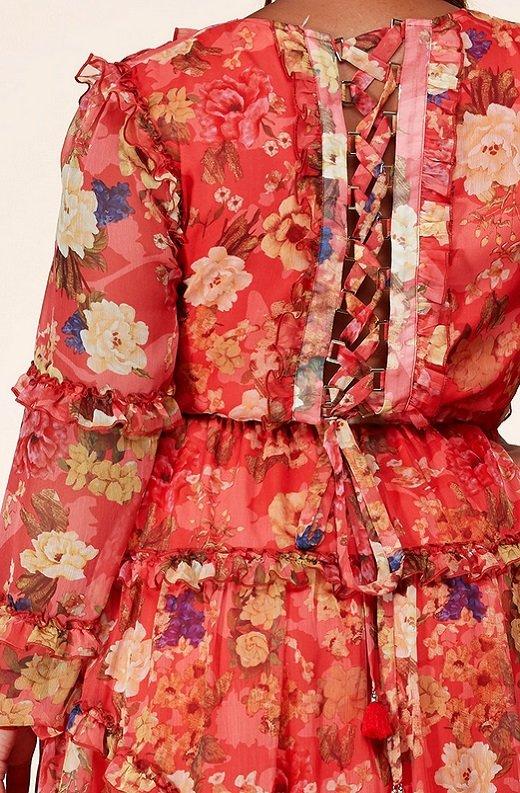 Coral Floral Print Ruffle Cut Out Tie Up Back Mini Dress Plus Size 6