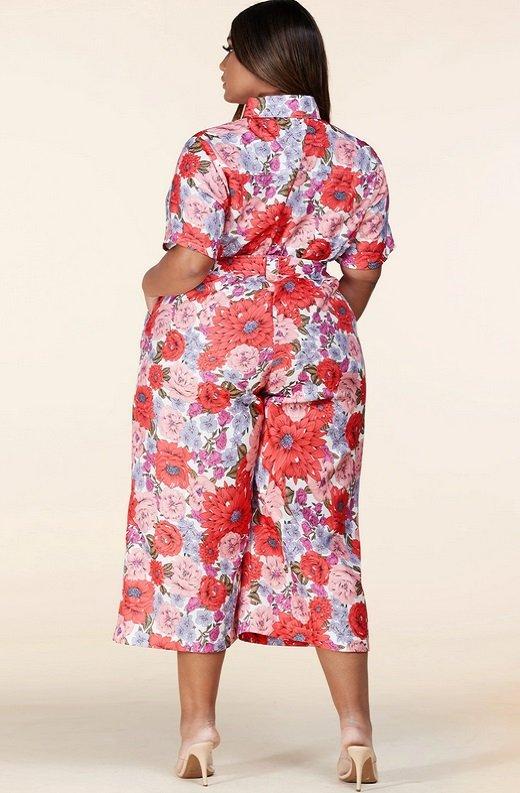 Coral Floral Short Sleeved Belted Jumpsuit 3
