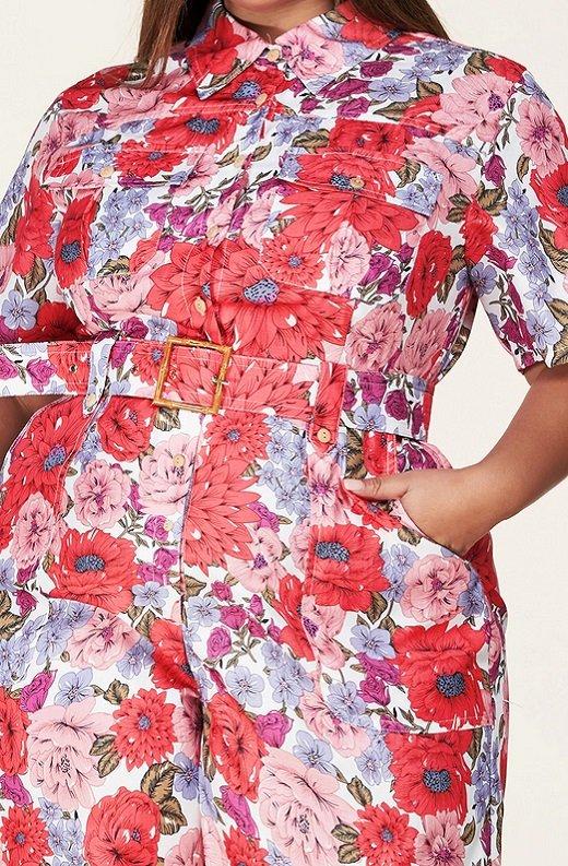 Coral Floral Short Sleeved Belted Jumpsuit 4