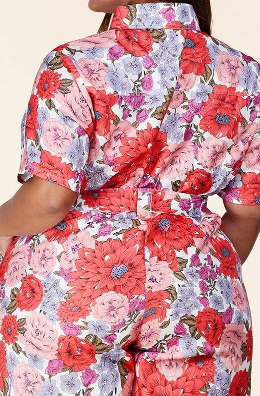 Coral Floral Short Sleeved Belted Jumpsuit 5