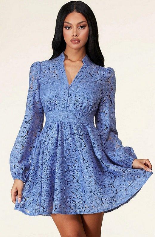 Dusty Blue Long Sleeves Crochet Lace V Neck Dress 1