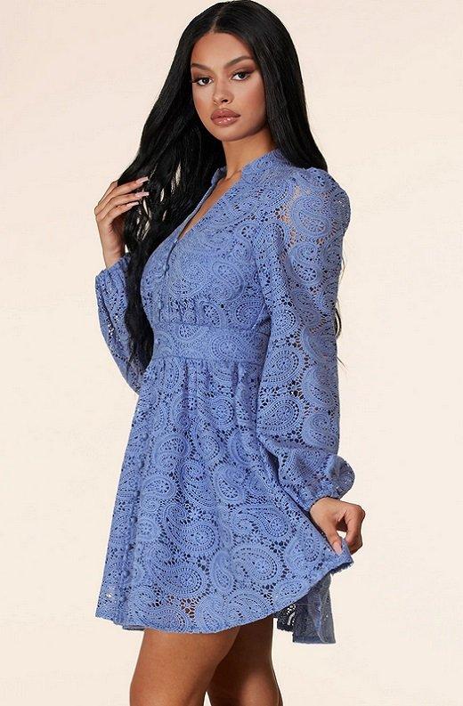 Dusty Blue Long Sleeves Crochet Lace V Neck Dress 2