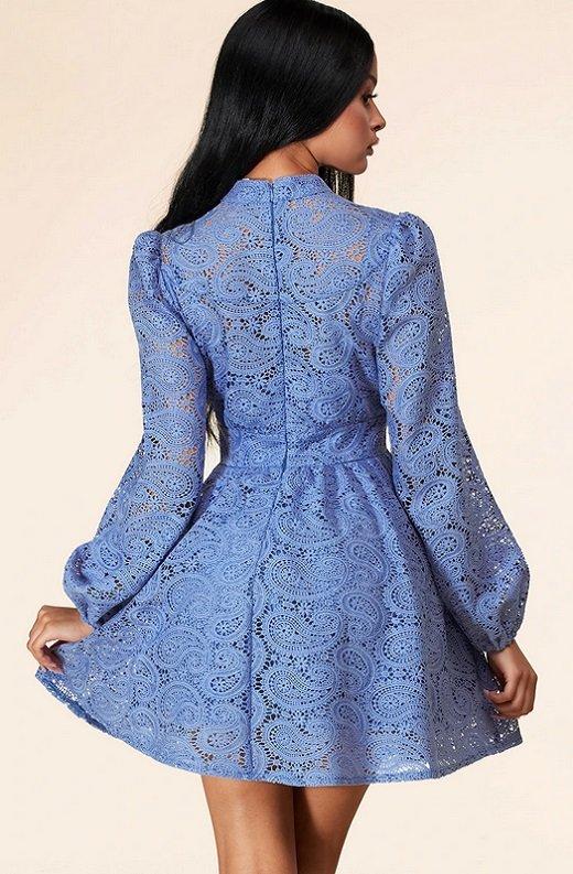 Dusty Blue Long Sleeves Crochet Lace V Neck Dress 3