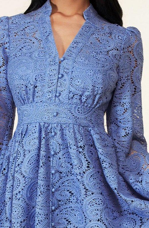 Dusty Blue Long Sleeves Crochet Lace V Neck Dress 4