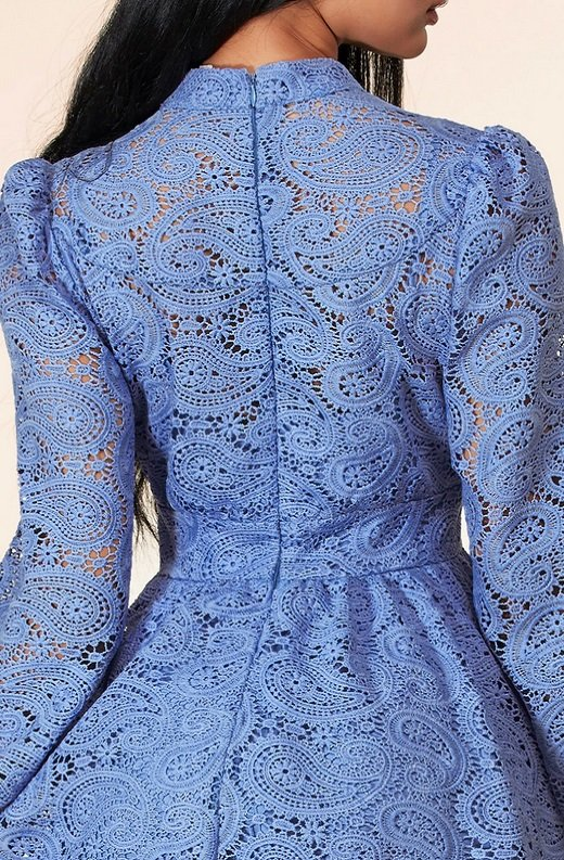 Dusty Blue Long Sleeves Crochet Lace V Neck Dress 5
