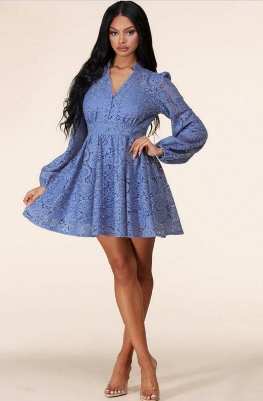 Dusty Blue Long Sleeves Crochet Lace V Neck Dress 6