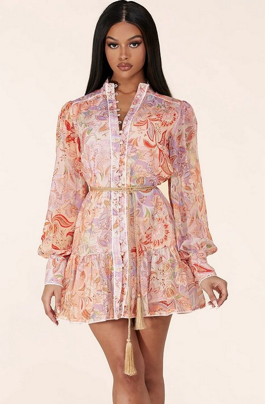 Dusty Rose Paisley Long Sleeves Belted Mini Dress 1