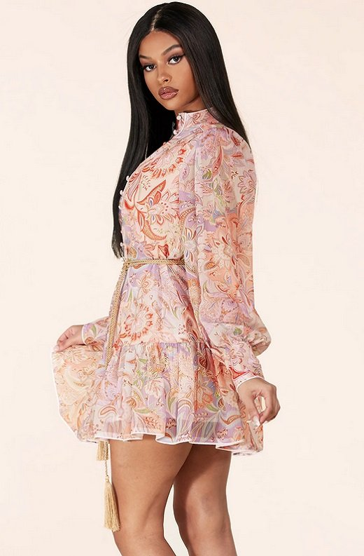 Dusty Rose Paisley Long Sleeves Belted Mini Dress 2