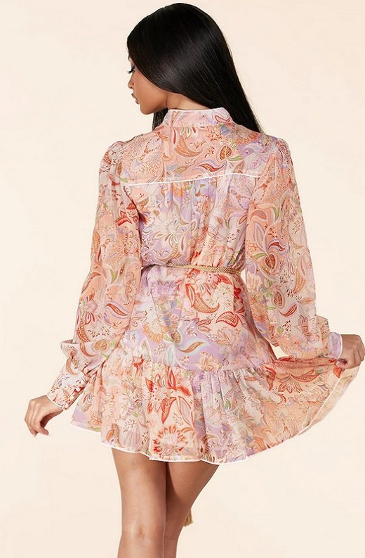 Dusty Rose Paisley Long Sleeves Belted Mini Dress 3