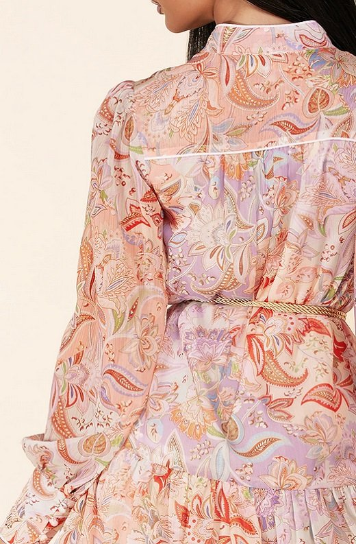 Dusty Rose Paisley Long Sleeves Belted Mini Dress 4